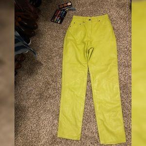 Pants - 100% Genuine Leather Lime Green Pants Size 10 NICE